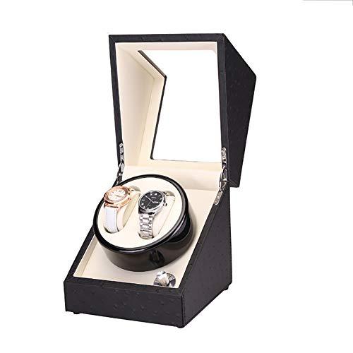 LOKKG Automatischer Uhrenbeweger für 2 Uhren mit leisem Motor für Herren Damen, Uhren Aufbewahrungsbox für Rolex Omega, White