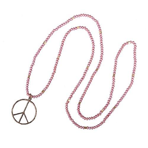 KELITCH Klassischer Frieden Zeichen Liebe Hippie Anhänger aus Mattem Kristall Perlen Halskette (Rot)