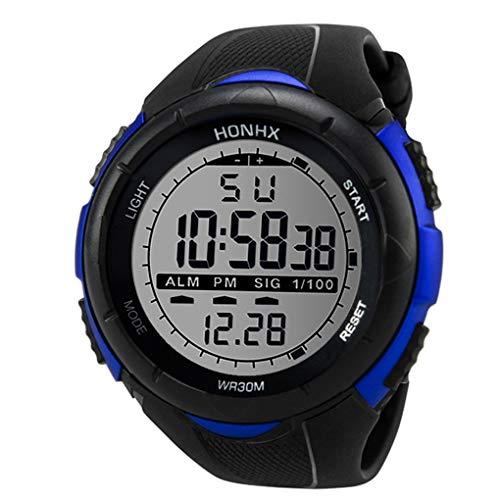 Digital Sport Uhren für Herren, Skxinn Männer 30M Wasserdicht multifunktionale Mode Sport LED Armbanduhren Ausverkauf(Blau-2,One Size)