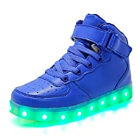 Aizeroth-UK LED Light up Trainers 7 Colors Luminous Flashing USB Charge Breathable Sport Running Shoes High Top Dancing Gymnastic Tennis Sneakers Best Gift for Boys and Girls Birthday