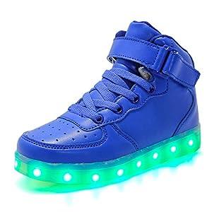Aizeroth-UK Unisex Kinder LED Schuhe 7 Farbe USB Aufladen LED Leuchtend Outdoor Sportschuhe High Top Atmungsaktives Ultraleicht Laufschuhe Gymnastik Turnschuhe Für Jungen Mädchen