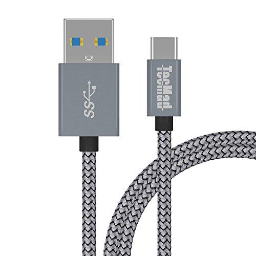 TecMad USB C Kabel auf USB 3.0A 2 m lange Nylon mit Aluminium Gehäuse Typ C Kabel Kompatibel für MacBook Pro, Go Pro Hero 5, ChromeBook Pixel, Samsung Galaxy S8 / S8 Plus/note 8,Google Nexus 5X, Nexus 6P/ Pixel XL, OnePlus 2/ 3, Lumia 950 / 950XL, Huawei P10 usw. Grau