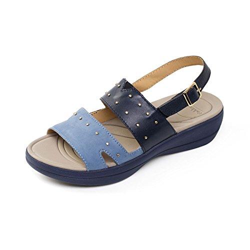 Padders donne di pelle sandalo 'Cameo' | Extra grande larghezza di EE | calzascarpe libero blu / Combi