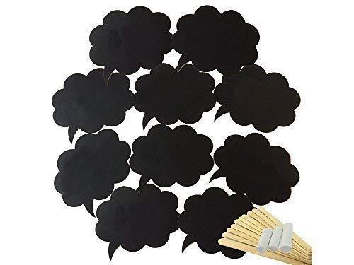 Schwarz Fotokabine Requisiten Blank, Beschreibbar, Wolke Form mit Stäbe für DIY Lustig, Verlobung, Hochzeitsparty, Geburtstag, Besondere Veranstaltungen, 10 STK ()