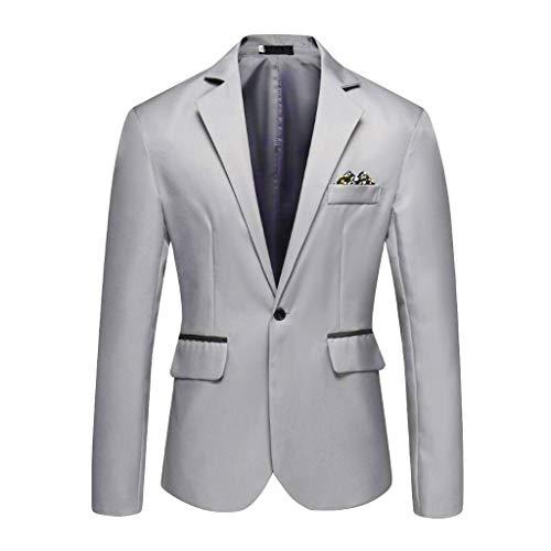 Grau Sport Coat Blazer (Herren Business Sakko Blazer Slim Fit,Regular Fit klassisch Reverskragen Blazer bequem Casual Jacke Button Geschäft Anzugjacken Herrenanzug EIN Knopf für Hochzeit Party Abschluss Business)