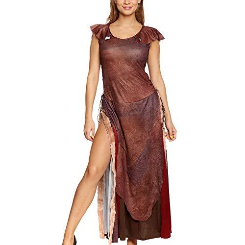 Wild Queen Damen Kostüm Kleid mit Schnürung für Daenerys Fans Elbenwald braun - 36/38 (Damen Wikinger Kostüm)