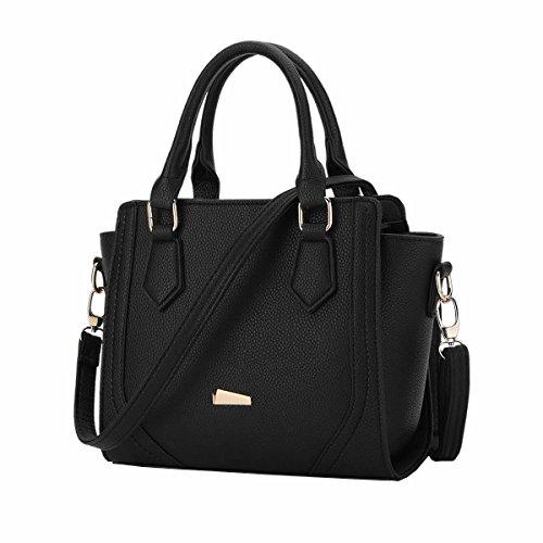 DISSA ES878 neuer Stil PU Leder Deman 2018 Mode Schultertaschen handtaschen Henkeltaschen,330×120×230(mm) Schwarz