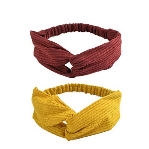 Damen Haarband, L'ananas Fraun 2 Stück Schick Solide Gestrickte Baumwolle Streifen Stirnband Haar Zubehör Women Hairbands Headband Hair Accessories (A-Weinrot+Gelb) -