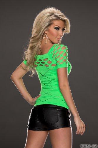 Fashion4Young 5807 t-shirt à manches courtes pour femme en tissu stretch et disponible en 10 coloris et 2 tailles Vert - Neon-Grün