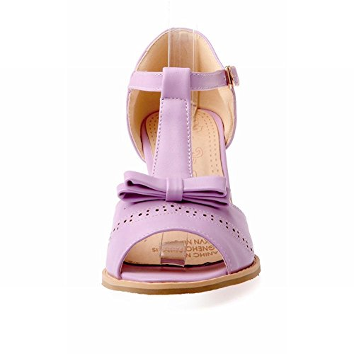 Mee Shoes Damen süß modern Peep toe T-Spange Knöchelriemchen runde Schnalle mit Schleife dicker Absatz Sandalen Lila