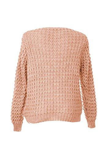 Fashion Italy Damen Pullover Winter Strickpullover mit V-Ausschnitt und Zopf Muster Grobstrick Grau Dunkelgrau Rosa Beige Rosa