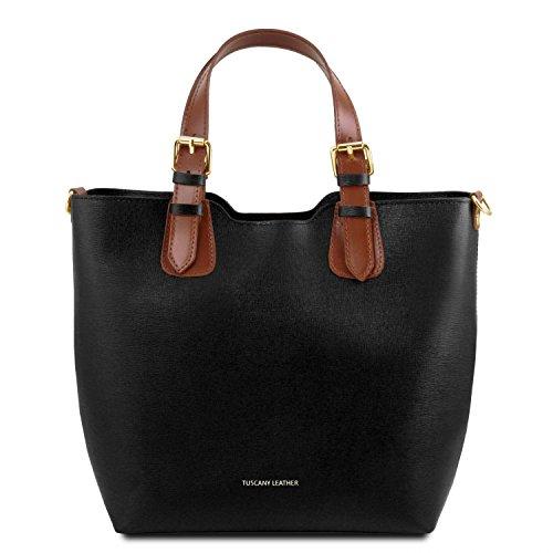 Tuscany Leather TL Bag Borsa a mano in pelle Saffiano Giallo Nero