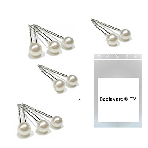 Boolavard Hair Pins Pack of 10 7mm Warm White with High Quality Pearls