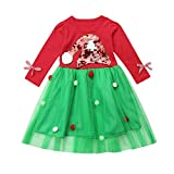 POLP Niño Regalo Tutu Navidad Vestido Niñas Bebe Verde Rojo Navidad Bebe Disfraz Árbol de Navidad de Dibujos Animados de Navidad Muñeco de Nieve Copo de Nieve Vestido de Falda abullonada Tutu