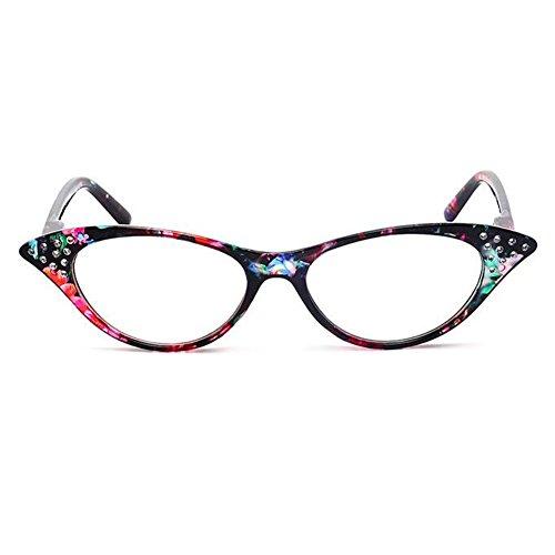 Haodasi Vintage Damenmode Designer Cat Eye Vergrößerung Lesung Leser Brillen mit Strass