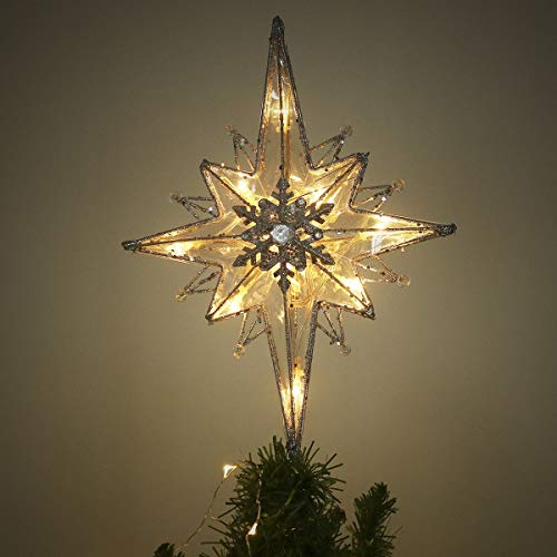 "Valery Madelyn 14""/34cm Pre-Lit Frozen Winter Silver and White Christmas Tree Topper, Metal Tree Top Star with 10 Warm LED Lights, Battery Operated (Battery Not Included,Sparkling Winter)"