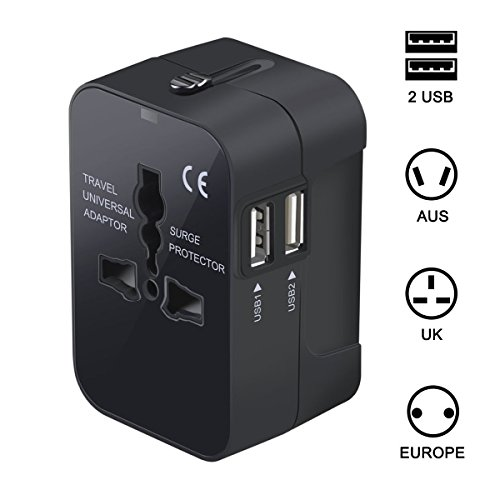 FULLBELL Worldwide All-In-One International Universal Travel Plug Adapter with EU UK US AU Dual USB Ports Wall Charger for iPhone/Smartphones/Laptops/Tablet PC (Black)