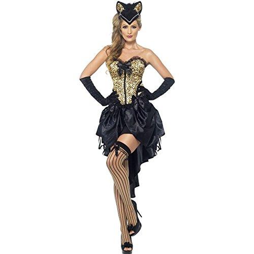 sexy Damen Kostüm Burlesque Katze Tänzerin Karneval Fasching Show (Show Kostüm Tänzerin)