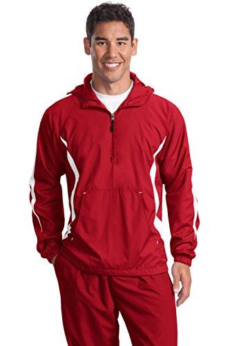 Sport-tek Herren Raglan (Sport-Tek® Colorblock Raglan Anorak. JST63 True Red/White 4XL)