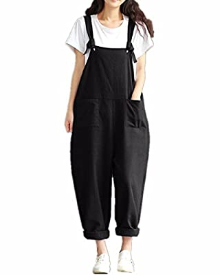 ZANZEA Women's Retro Loose Casual Baggy Sleeveless Overall Long Jumpsuit Playsuit Trousers Pants Dungarees