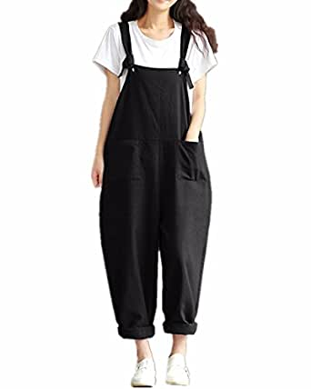 styledome women 39 s retro loose casual baggy sleeveless overall long jumpsuit playsuit trousers. Black Bedroom Furniture Sets. Home Design Ideas