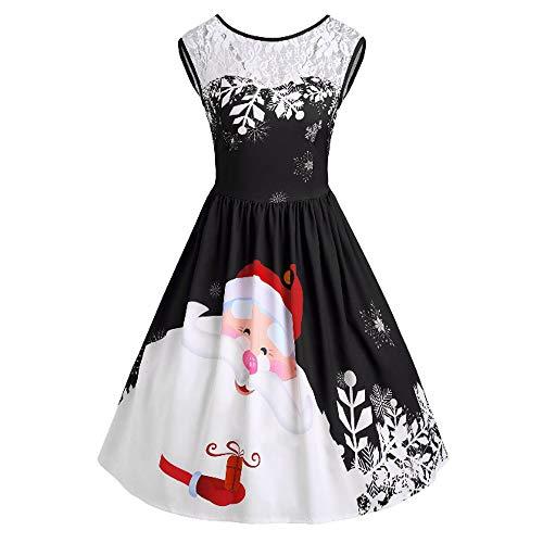 Sannysis Weihnachtenkleid Damen Vintage Ärmelloses Kleid Elegant Spitzennaht Abendkleid Weihnachten Party Kleid Cocktailkleid Festlich Drucken Knielanges ()