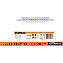 ECOBELLE® 1 x Bombilla LED R7S 10W 1000 Lúmenes, Bombilla Regulable, Color Blanco Cálido 3000K, 118 mm x 25 mm, 360 grados
