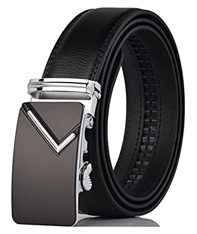 QISHI YUHUA PD Mens Casual Genuine Leather Belts Automatic Buckle Belt (115cm (Fit 20