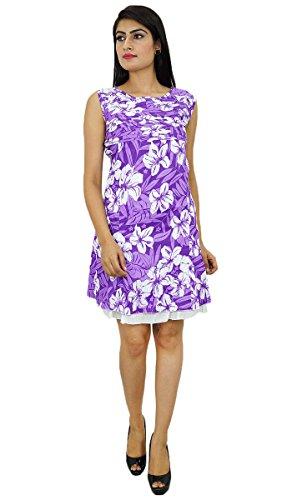 Blumendruck gefaltetes Kleid aus reiner Baumwolle knielangen Sommerkleidung für Damen Lila-3