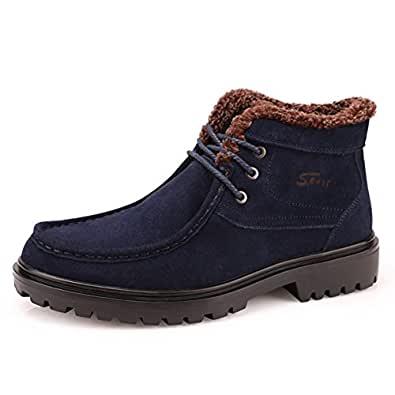 Moin - Boots en Cuir pour Homme - Chaussures de Securite - Bottes de Travail Caterpillar avec Fourrées, Confortable pour l'hiver, Couleur Noir Marron Beige Vert, Taille 40 41 42 43 44 45 46 47