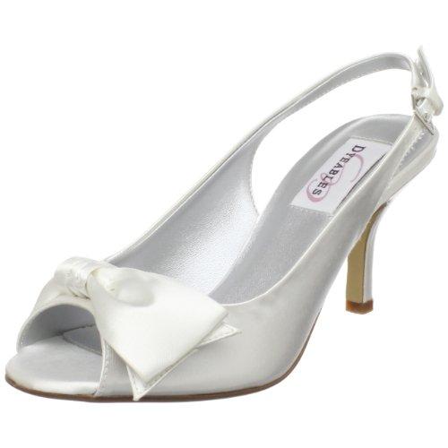 Dyeables Damen Faye, weiß-White Satin, 35.5 EU Dyeables Satin Slingbacks