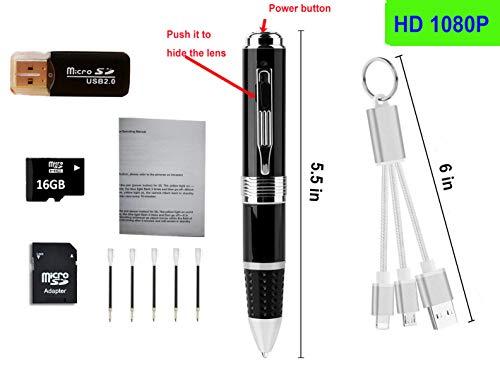 Preisvergleich Produktbild 1080P Mini-Kugelschreiber-Kamera,  tragbare kleine Kamera für Video-Aufnahmen und nehmen Fotos,  Mini-Überwachung Kamera Eingebaute Batterie mit PC Webcam-Funktion +16G tf card