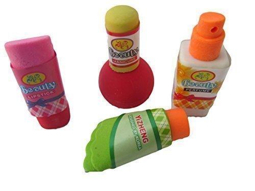 Set von 4 Novelty Collect Bunte Kosmetik: Lippenstift, Parfum, Lotion & Nail Polish Japanese Style Erasers Rubbers (nicht Iwako) Fat Catz Copy Catz