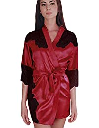 SHOBDW Ropa de Dormir Mujeres Rojo Negro Sexy Satén de Seda Kimono Bata de Encaje Splice