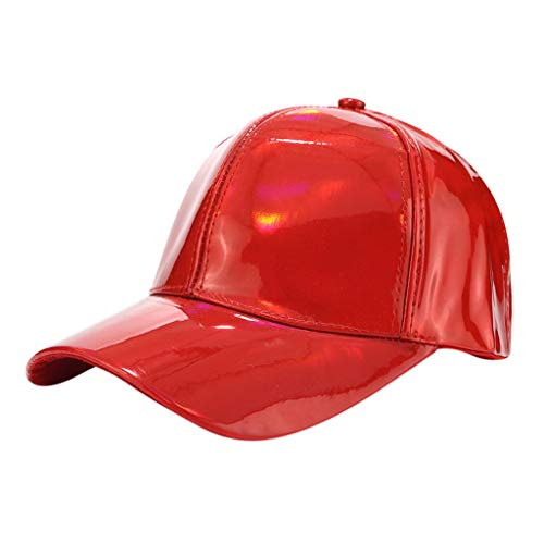 Dasongff Mode Frauen Männer Baseballkappe Einstellbare Leder Baseball Cap Hip Hop Hüte Lässige Outdoor Kappe Mütze (rot-B) (Herren New York Yankees Kostüme)