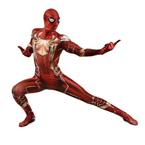 ZHANGQI Iron Spiderman Cosplay Herren Strumpfhose Anime Spiel Kostüm Cosplay Body Mit Reißverschluss Spandex (Iron Mann Bodysuit Kostüm)
