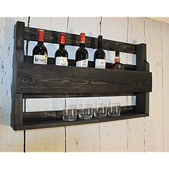 Whisky Regal aus Holz – mit Gläserhalter – Schwarz – Industrie Stil – fertig montiert – Wandbar – Whisky-Regal aus Holz