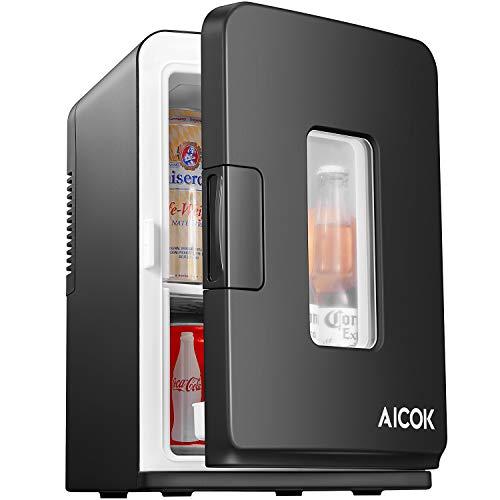 Aicok Mini Kühlschrank 15 L Tragbare Kühlbox mit Kühl- und Warmhaltefunktion, 220-240V/12V DC Elektrische Kühlbox für Auto Camping und Hause, Schwarz (Mini Camping Kühlschrank)