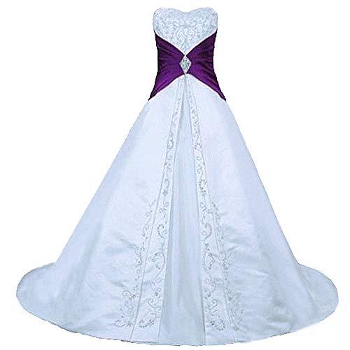Zorayi Damen Elegante A-Linie Schnürung Stickerei Satin Brautkleid Hochzeitskleider Weiß & Lila...