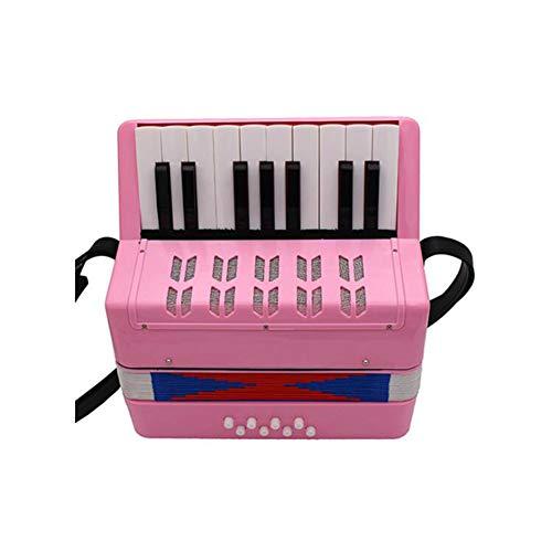 WANDIC Kinder Akkordeon 17 Schlüssel Spielzeug Akkordeon Solo und Ensemble Instrument Musikinstrument für frühkindliche Unterricht Pattern 6 rose
