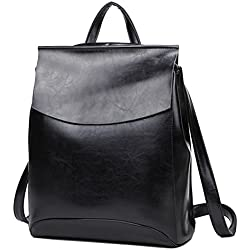 Yan Show - Bolso mochila de cuero para mujer Negro negro