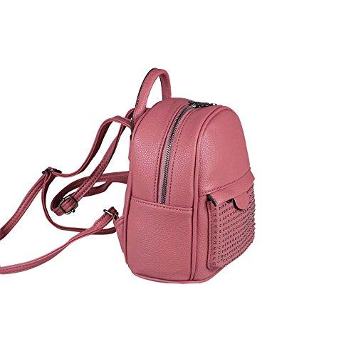 OBC DAMEN MÄDCHEN JEANS RUCKSACK BACKPACK Strasssteine Glitzer Denim Baumwolle Cityrucksack Stadtrucksack Schultertasche Handtasche Rosa Pink 19x20x10 cm
