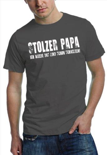 Love Rules - Herren Papa T-Shirt | stolzer Papa - Ich werde das Kind schon schaukeln | Papa Shirt aus 100% Baumwolle Stahlgrau