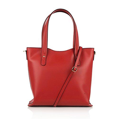 TARA Borsa a spalla Tote Shopper con manici e tracolla removibile pelle liscia rosso