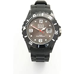 ION BODY ARMOUR BLACK EDITION UNISEX SILICONE ION WATCH - CHARCOAL BLACK FACE