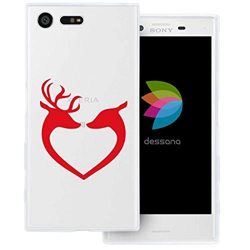 dessana Weihnachten Muster transparente Schutzhülle Handy Case Cover Tasche für Sony Xperia X Compact Rentier Herz -