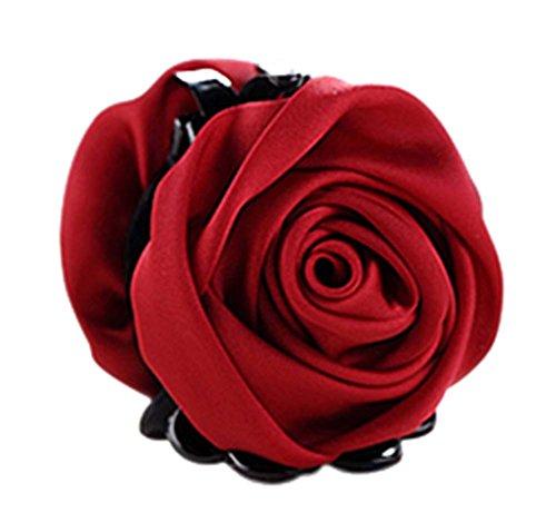 un Belles Clips Rose Fleur Cheveux Ponytail clip, vin rouge