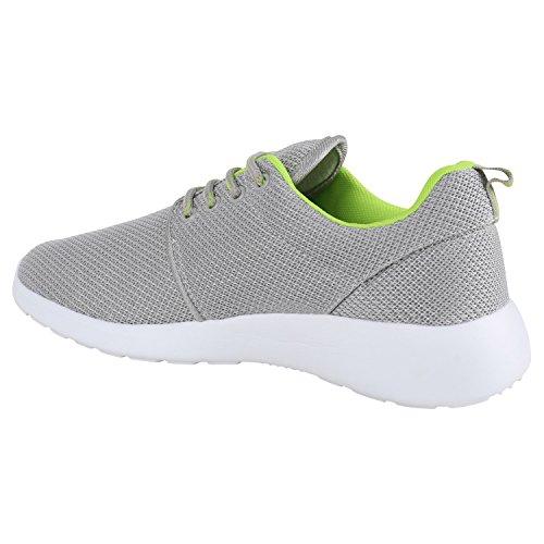 Damen Laufschuhe | Modische Sportchuhe| Sneaker Profilsohle |Glitzer Pailletten Sneakers | Runners Snake Blumen Hellgrau Neongrün