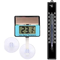 Lantelme 7453Digital Termómetro Solar y plástico termómetro analógico en Negro–solarthe rmom–Oxímetro para Acuario y Terrario