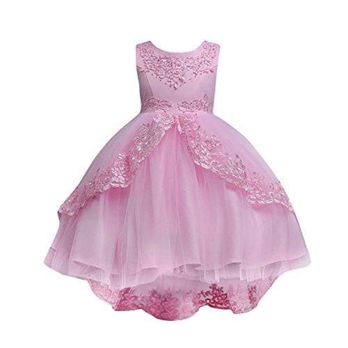 YEARNLY Kleinkind Kinder Mädchen Hochzeit Blumenkleid Spitze Prinzessin Partykleid Blau, Rosa, Rot, Weiß, ()